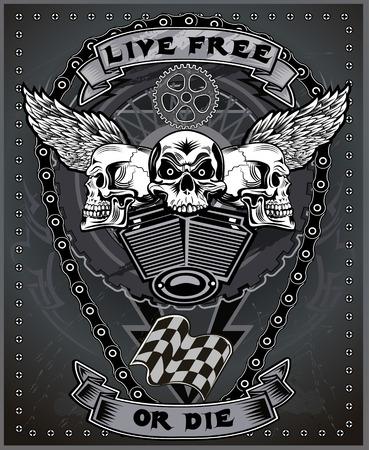 racing wings: vintage motorcycle label