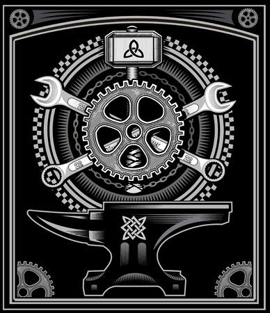 motorcycle: Vintage motorcycle label Thors Hammer Illustration