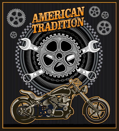 racing wheel: American vintage motorcycle label