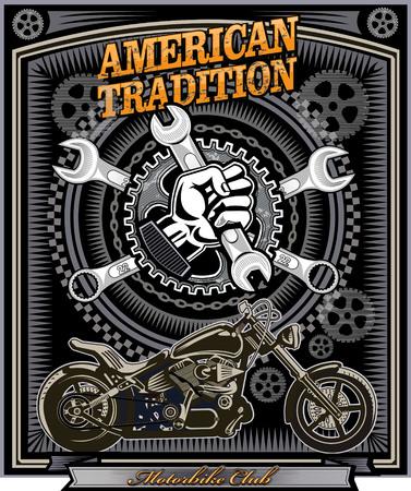 American vintage motorcycle label