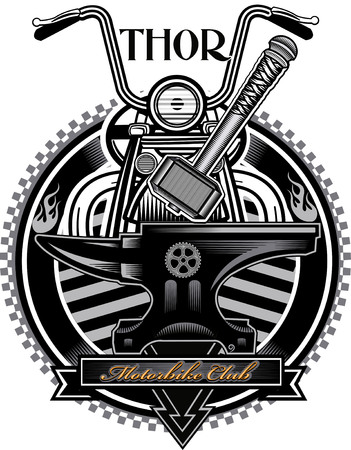 thor's: American vintage motorcycle label Thors Hammer Illustration