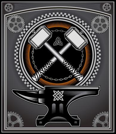 Vintage motorcycle label Thors Hammer  イラスト・ベクター素材