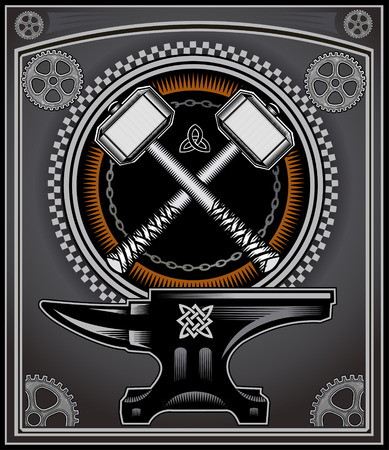 hammers: Vintage motorcycle label Thors Hammer Illustration