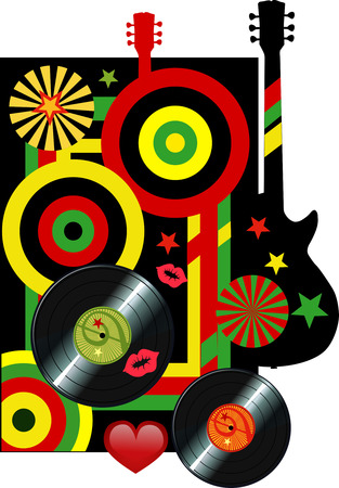 disk jockey: Vector vinyl disc records