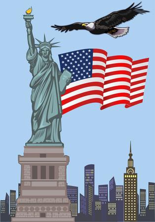 Vrijheidsbeeld. New York en Amerikaanse symbool Stock Illustratie