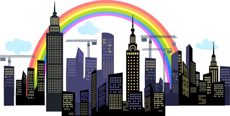 Big City. Architectural building with sketch and Rainbow