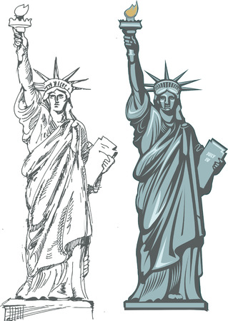 statue: Statue of Liberty. New York and American symbol Illustration