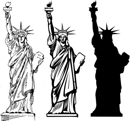 liberty statue: Statue of Liberty. New York and American symbol Illustration
