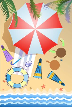 parasol: beach parasol and sunny day