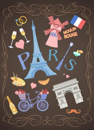 i love paris: illustration  of Paris