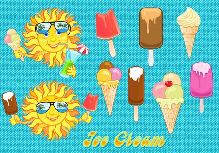 smiling sun: Smiling Sun and ice cream Illustration
