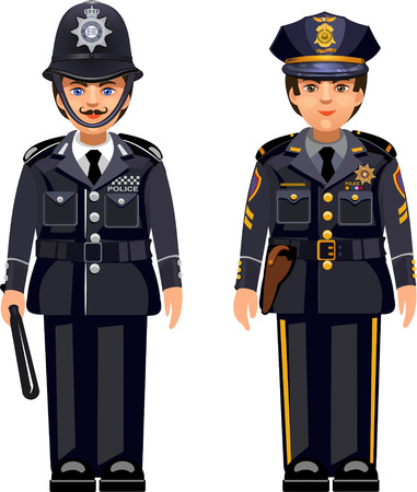 British metropolitan police officers and USA NYPD police officer . Traditional authentic helmet  and American police cap
