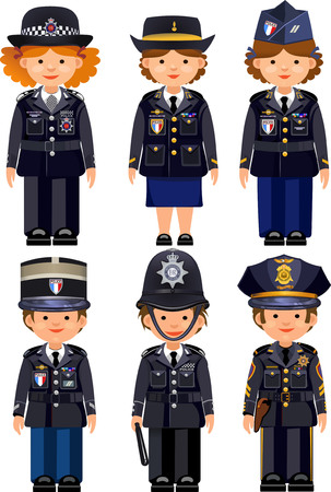 police: British metropolitan police officers and France Paris police officers and USA New York  police officers . Traditional authentic helmet