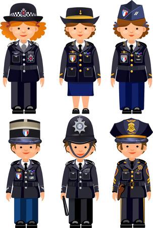 policier: officiers britanniques métropolitaines de police et les agents de police France Paris et les policiers de New York USA. casque authentique traditionnelle Illustration