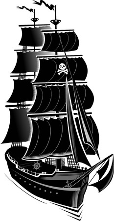 anchor drawing: Pirate ship Illustration