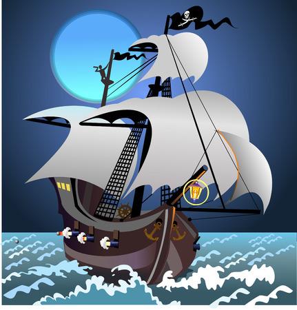 Pirate ship in the Dark Zdjęcie Seryjne - 49995235