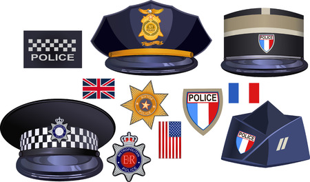 officers: A traditional authentic hat of British, American, French police officers