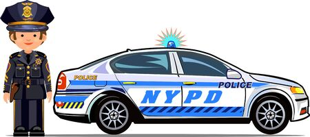 front wheel drive: policeman police car coloring Illustration