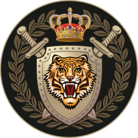 chivalrous: Tiger of shield Illustration
