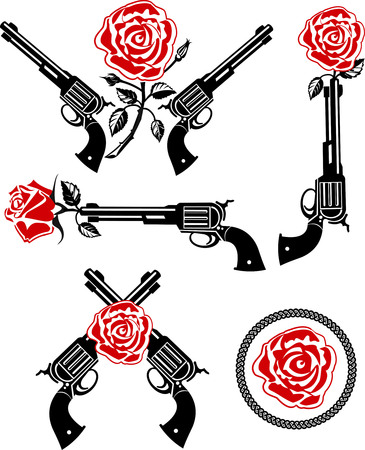 rose tattoo: Vector Tattoo Rose With Gun