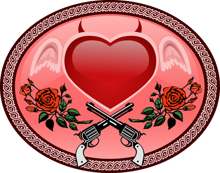 devilish: Vector Tattoo Rose With Gun and devilish heart