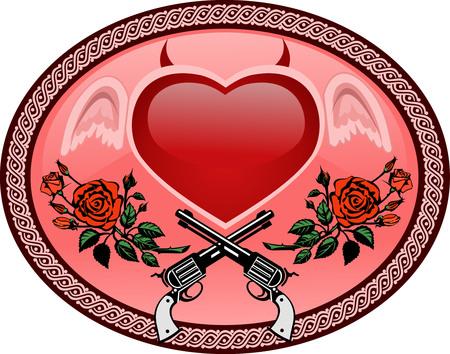 devilish: Vector Tattoo Rose With Gun and devilish heart