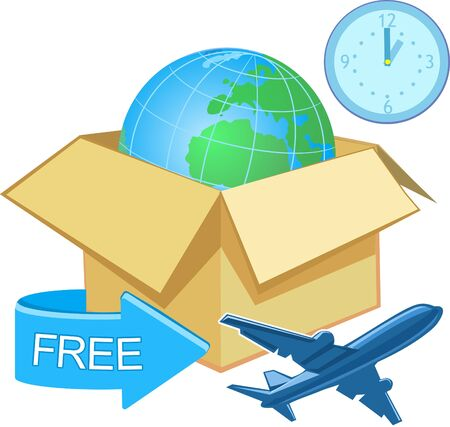 stating: Cartons box with a world map with a banner stating Free shipping