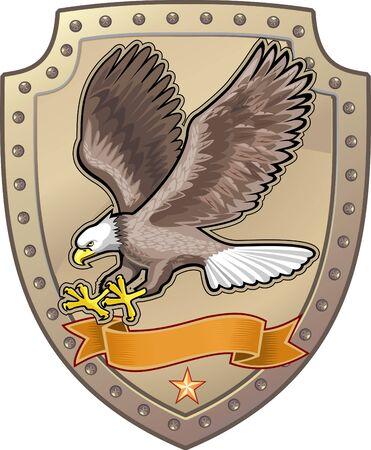 eagle shield and laurel wreath: Eagle shield