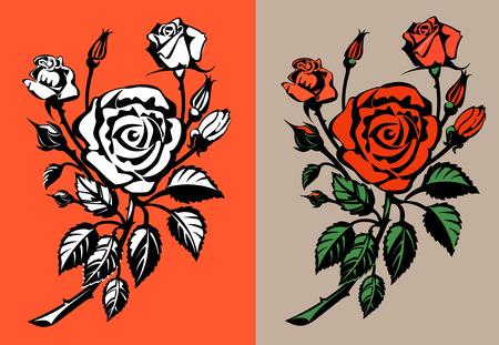Rosas rojas. Ilustración del vector.