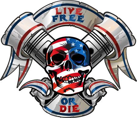 racing sign: Live Free or Die  Biker Skull design