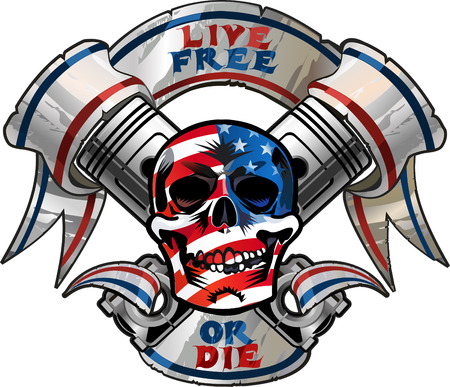 Live Free or Die / Biker Skull design 向量圖像