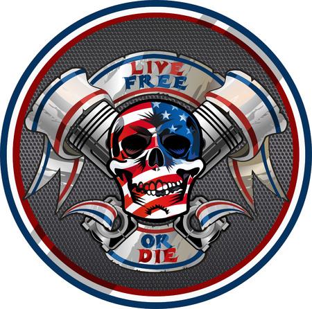 Live Free or Die / diseño del motorista Cráneo Ilustración de vector
