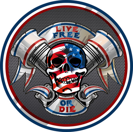 Live Free or Die / Biker Skull design Illustration