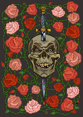devil's bones: Roses and skull Illustration