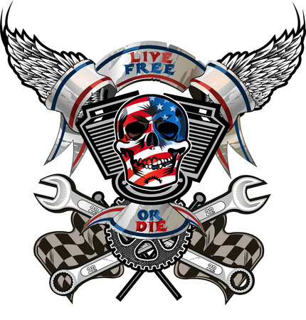 Live Free or Die  Biker Skull design