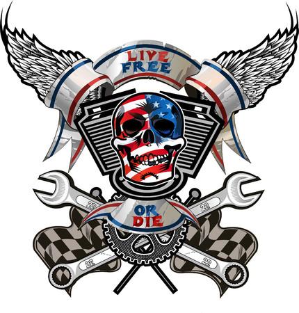 Live Free or Die / Biker Skull design Vectores