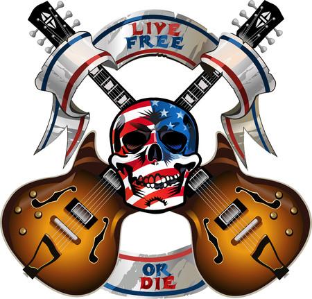 Elektrische gitaar en schedel