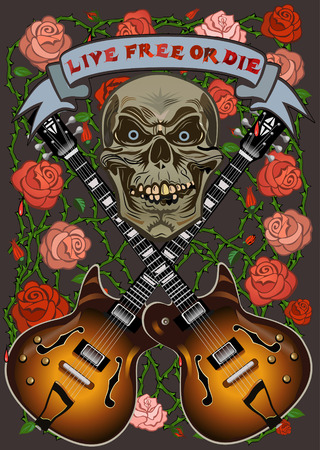 hollow body: Electric Guitar and skull