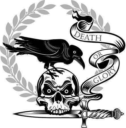 skull dagger knife tattoo Illustration