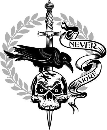tatuaje del cráneo cuchillo daga
