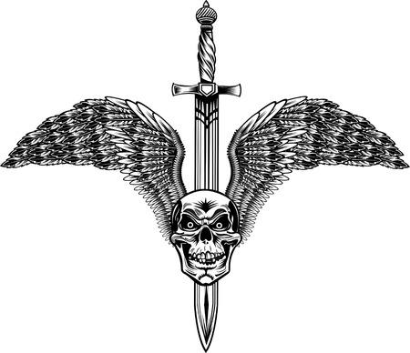 Winged Skull with Sword Vektorové ilustrace