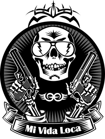 skull with guns. Mi vida loca – my crazy life