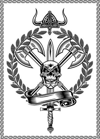 Skull with Ax Vektorové ilustrace