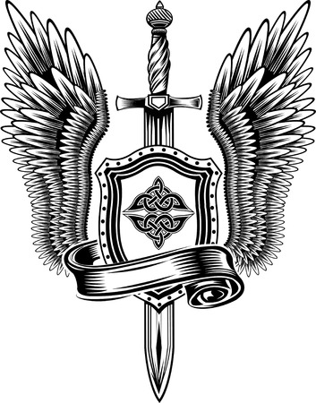 warrior sword: sword with wings Illustration