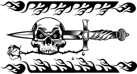 space wars: skull dagger knife tattoo Illustration