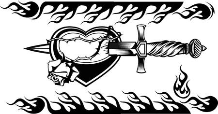 dagger knife tattoo Иллюстрация