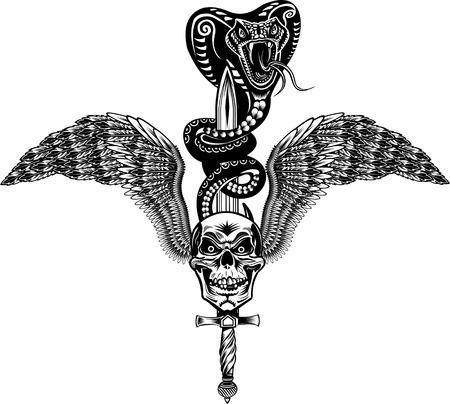 serpiente cobra: Cr�neo con alas con la espada y tatuaje de la serpiente de la cobra