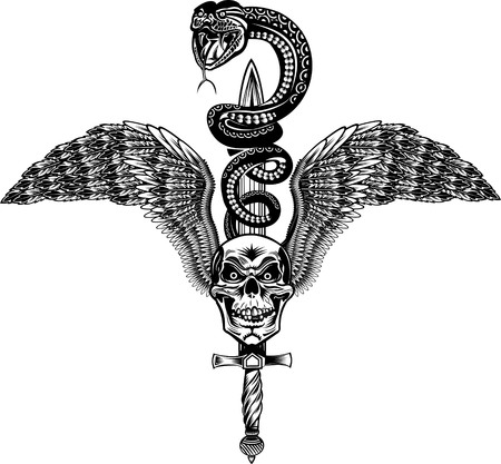 Winged Skull with Sword and Snake Tattoo Cobra