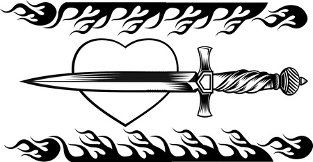 tattoo dagger knife Иллюстрация