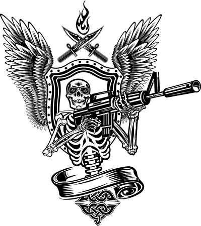 shootout: Skeleton Shooting a Rifle.